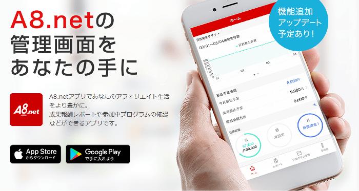 アフィリエイター向けファンコミュニケーションズのスマートフォンアプリA8.netアプリ
